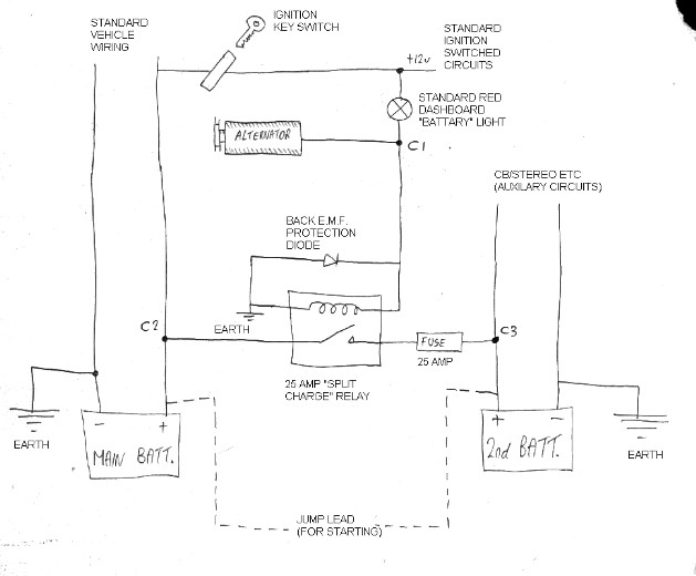 splitcharge land rover split charge circuit split charge diode wiring diagram at bayanpartner.co